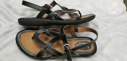 Boc by Born black strappy sandals size 9 thong comfort style