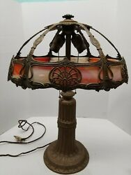 Antique Slag Glass Lamp Leaded Base with 8 Camel Bent Panel Shade $250.00