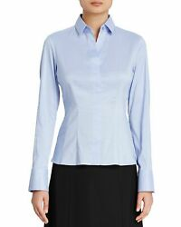 Boss Bashina Blue Stretch Poplin Blouse Shirt Top 8  NWT $198
