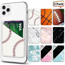 Universal PU Leather Cell Phone Card Holder Pocket Adhesive Sticker Wallet Case