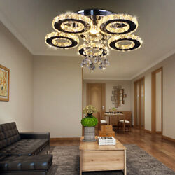 Modern Crystal Chandelier 5 Rings Ceiling Light Fixture Stainless Steel Pendant  $75.99