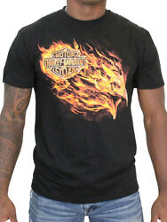 Harley-Davidson Mens Blazing Flames Eagle Black Short Sleeve Biker T-Shirt $14.99