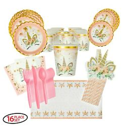 Unicorn Party Supplies with Scalloped Plates and Gold Trim for 16 guests $19.99