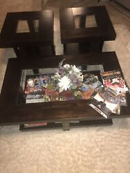 Modern Table Set 3 Piece Wood Glass Top Coffee Cocktail End Accent Livingroom $225.00