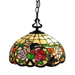 Tiffany Style Hanging Pendant Lamp Stained Glass Rose Theme Ceiling Light 16in $168.77