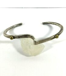 Vintage Sterling Silver Cuff Taxco Mexico Curved Modern Two Tone Studs Abstract $23.99