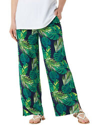 Denim & Co. Womens Beach Pull-On Pants with Side Slits 2X Petite Tropical Palm $23.00
