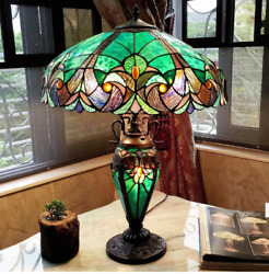 Chloe Tiffany Style Halston Double Table Lamp Multi Light Desk Glass Antique