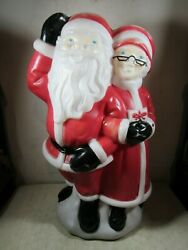 Vintage 1978 Empire Santa amp; Mrs Claus Light Up Blow Mold Christmas Decoration $225.00