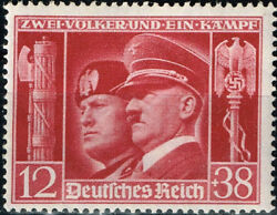 Germany Italy Axis WW2 Hitler and Mussolini stamp 1941 MNH $14.99