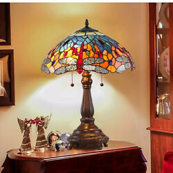 Tiffany Style Table Lamp Stained Glass Vintage Nightstand Desk Office Dragonfly $133.77
