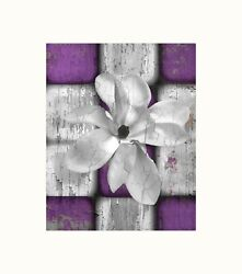 Purple Gray Rustic Bedroom Bathroom Floral Home Decor Matted Photography Artwork $18.99