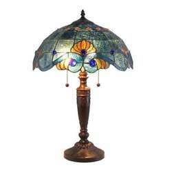 Tiffany Style Handcrafted Blue Vintage Table Lamp 16quot; Shade Stained Glass $130.99