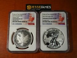 2019 W ENHANCED REVERSE PROOF SILVER EAGLE & MAPLE NGC PF70 PRIDE OF NATIONS SET $265.00