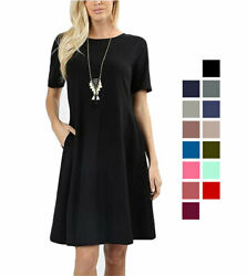 Premium Cotton Short Sleeve A-Line Dress w Pockets Loose Relaxed $15.98
