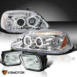 Fits 96-98 Honda Civic Clear LED Halo Projector Headlights+Bumper Fog Lamps Pair