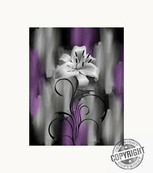Purple Wall Art Lily Flower Bedroom Bathroom Photography Matted Artwork $34.99