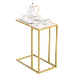 New Style Modern Marble Simple MDF Metal C Side Table Home Furniture White $28.99