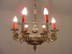 DANGEROUS DRAGON NICKEL CHANDELIER SILVER RED CANDLE VINTAGE LAMP Ø 21quot; $555.00