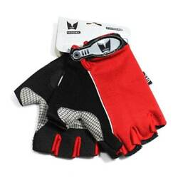 REX 313 BR Red Black Spandex Gloves Gel Cycling Finger less Sports Workout Sprin $7.49