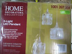 Home Decorators Collection 3-Light Polished Chrome Integrated LED Pendant
