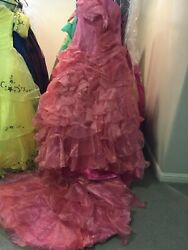 PROM pageant quinceanera CORSET LACE UP ruffle dress wlong train PINK 12 $263.20