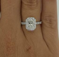 1.25 Ct Halo Pave Radiant Cut Diamond Engagement Ring SI2 H White Gold 18k $560.05