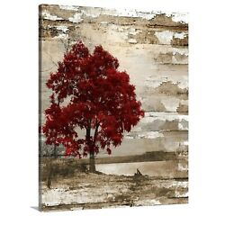 Red Brown Tree Lake Rustic Bedroom Living Room Canvas Ready to Hang Wal Art $49.99