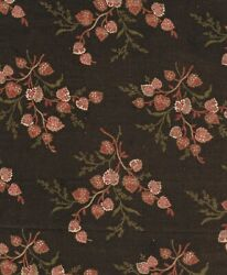 Deep Brown Tan amp; Red Leaf Bouquets Antique Fabric $25.00