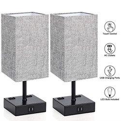 Touch Control Table Lamp 3 Way Dimm able Bedside Desk Lamps with 2 USB Charging