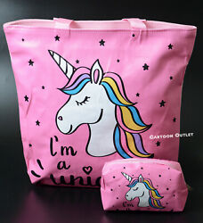 UNICORN TOTE BAG PURSE TOTE LARGE WITH COSMETIC PINK BAG TRAVEL BEACH REUSABLE $12.95