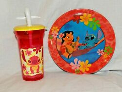 NEW DISNEY LILO AND STITCH DINNERWARE PLATE AND SPORTS TUMBLER CUP $10.00