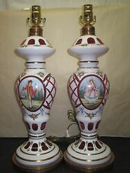 Pair Of Antique Lamps Moser Bohemian White Cut To Cranberry Hand Painted $899.99