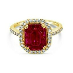 LeVian 14K Yellow Gold Red Ruby Round Diamond Pretty Classy Cocktail Halo Ring $1900.00