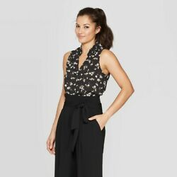 Women#x27;s quot;A New Dayquot; Sleeveless V Neck Blouse Black Floral XS $9.99