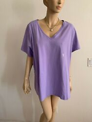 AVENUE YOUR TEE PURPLE LAVENDER V NECK MESH TRIM T SHIRT TUNIC TOP PLUS 26 28 $22.49