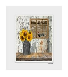 Farmhouse Kitchen Dinning Room Sunflowers Rooster Wall Art Home Decor Picture $19.99