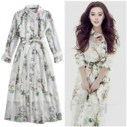 Runway Women's Floral Print Shirt Dress Long Slim Cocktail Fashion Lapel Dresses