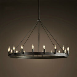 Farmhouse Retro Iron Round LED Chandelier Kitchen Island Pendant Lamp Fixtures $149.00