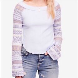 Free People Women's Periwinkle Fairground Thermal Top Size Medium NWT
