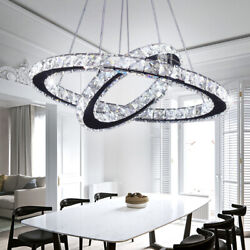 Modern LED Crystal Chandeliers Two Rings Pendant Lamp Round Ceiling Light $79.99