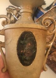 Antique French Painted Cottage Roses Cast Metal Table Urn Shape Boudoir Lamp $68.99