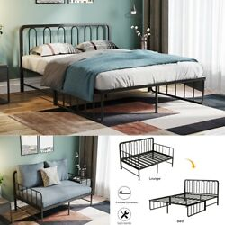 Foldable Iron Daybed Bed Frame W/ Headboard Premium Steel Slat Support Mattres $149.99