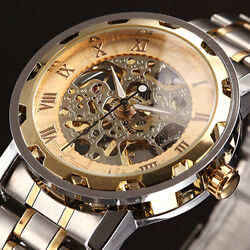 Men Skeleton Numerals Hollow Dial Stainless Steel Band Mechanical Watch GBP 10.95
