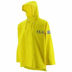 Huk Commercial Grade PVC Waterproof Foul Weather Jacket Yellow Size 2XL