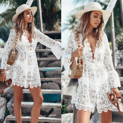 Womens Bikini Dress Suit Beach Swimwear Summer Swimsuit Sheer Bathing Cover Up $15.87