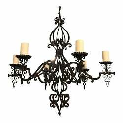 Paul Ferrante 6 Arm Wrought Iron Chandelier