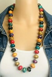 Vintage 1980#x27;s Multicolored Squat Bead Painted Gold Swirl Necklace 29quot; $24.00