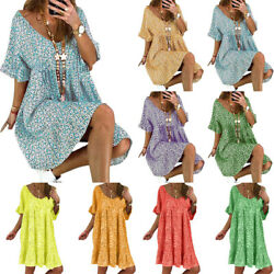 Womens Boho Floral Short Sleeve Mini Dress Summer Holiday Beach Casual Sundress $15.19