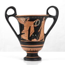 Ancient Greek Museum Replica Red Figure Vase with Nike and Zeus Pottery Greece